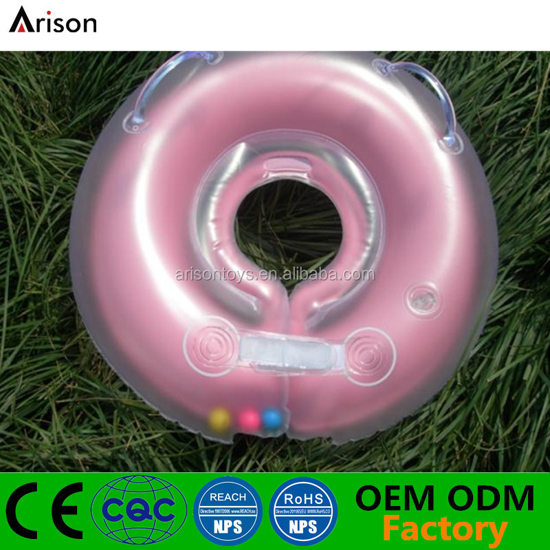 Half-transparent inflatable swimming neck ring inflatable baby bath ring with bells inside