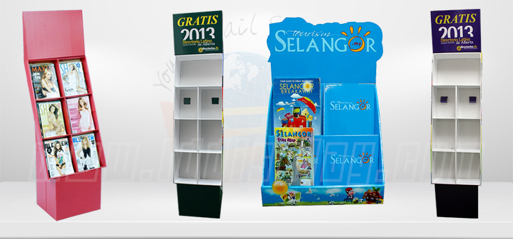 book and magazine display shelf in coffee shop advertising floor standing poster display frame