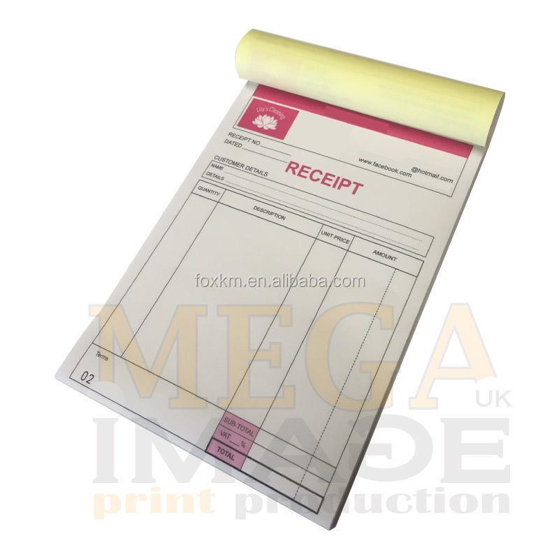 PERSONALISED A5 INVOICE BOOK / DUPLICATE / NCR / RECEIPT/ ORDER, 50 SETS / PAD