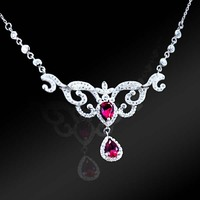 High Quality 925 Sterling Silver Elegant Pink Crystal Drop Necklace Party Costume Jewelry