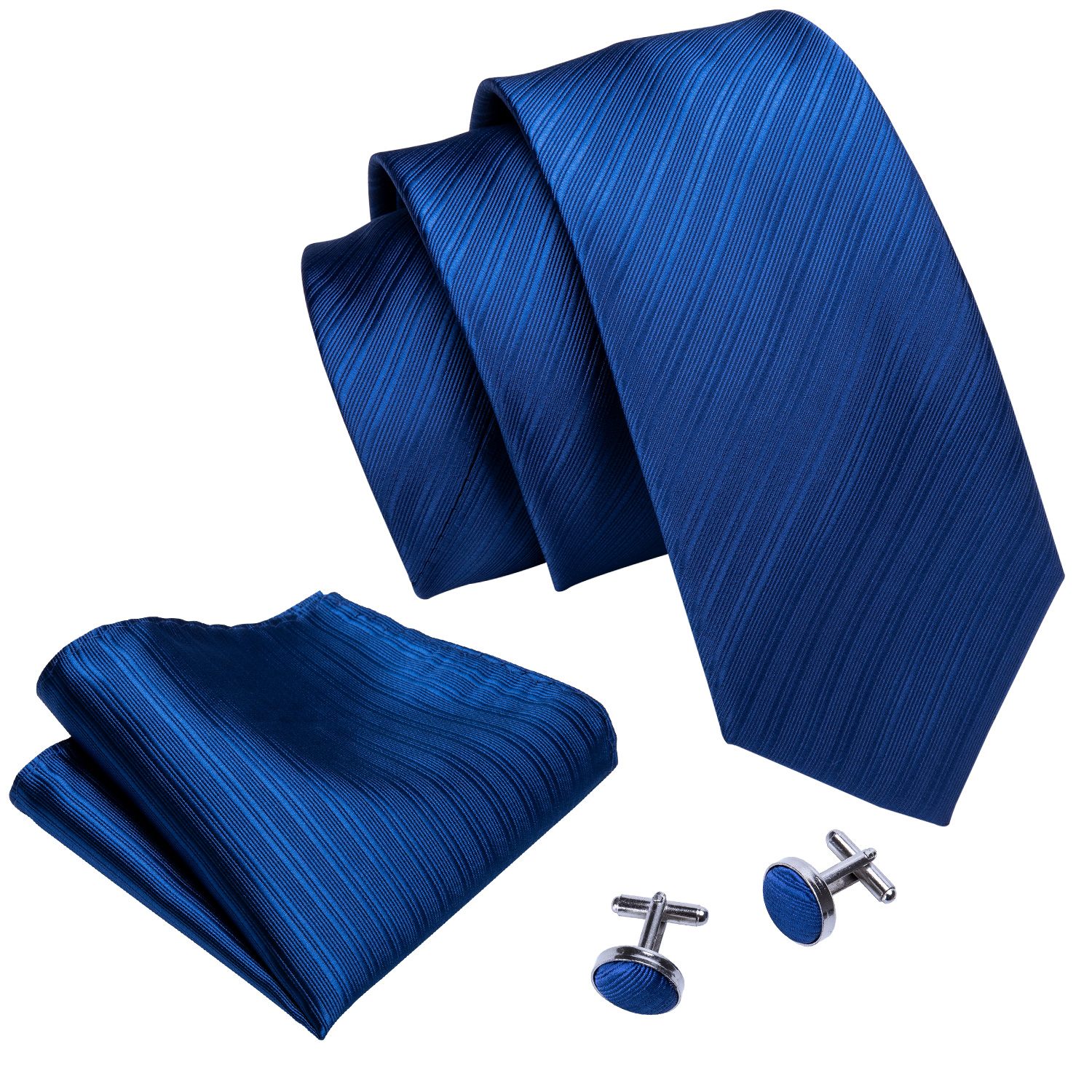 Hochwertige Krawatte Bright Blue Solid Color Ties Mens Silk