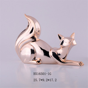 Hand made ceramic electroplate fox figurines , porcelain decorative statues animal statues