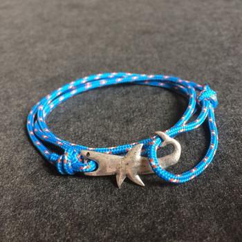 Trendy Multicolor Men Shark Bracelet 2018 Charm Silver Zinc Alloy Rope Bracelets Punk Style Jewelry