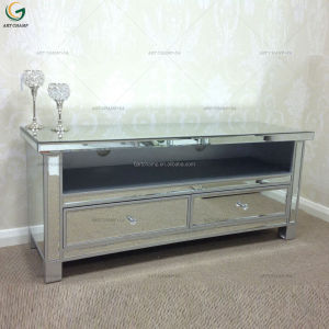 Living Room Modern Silver Mirrored Glass TV Stand