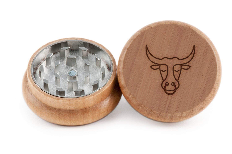 GRINDCANDY Spice And Herb Grinder - Laser Etched Ox Design - Manual Oak Pepper Grinder