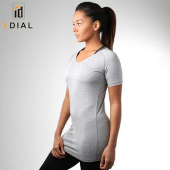 2f27ebe1801a 2018 wholesale hot sexy women V Neck long length workout gym sports t-shirts