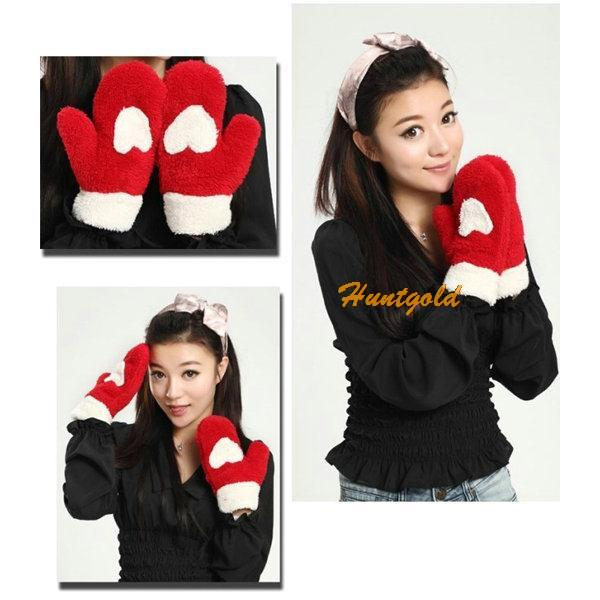 Cute Lovely Women Lady Girl Winter Thick Warm Soft Plush Mittens Glove Love Christmas Gift