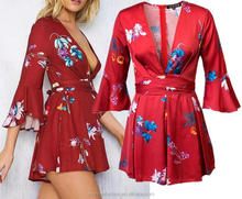 monroo European women long sleeve red floral printed satin jumpsuits
