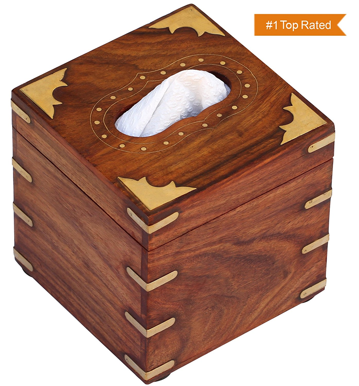 Souvnear 10 Inch Brown Tissue Box Cover Wooden Holder