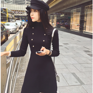 CA1091 fashionable women twin line button winter coat dresses
