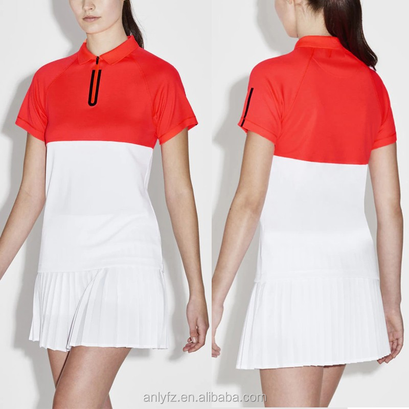 Top quality fashion wholesale women's sport wearing zip neck colorblock tennis polo shirt