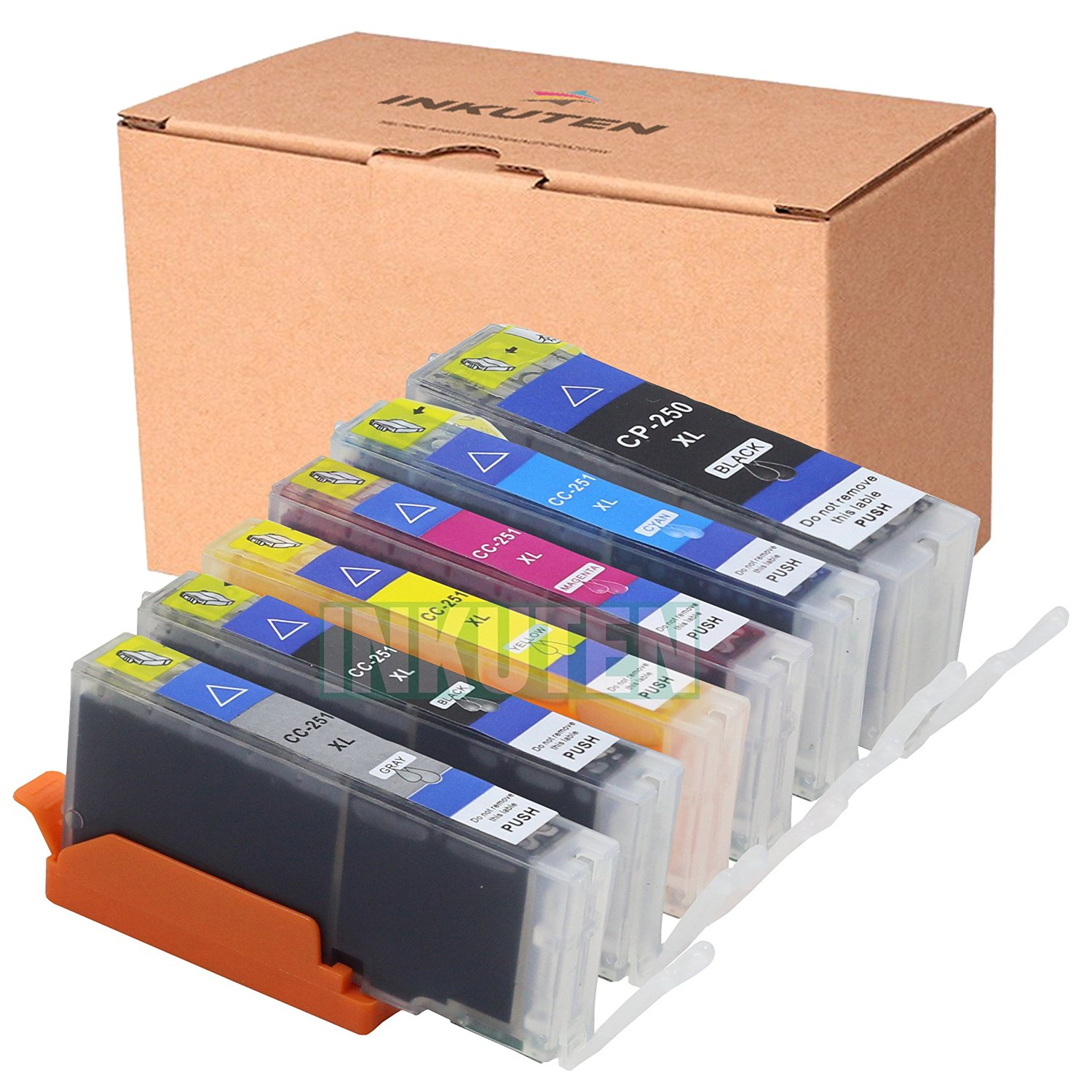 INKUTEN (TM) Compatible Ink Cartridge Replacement for Canon PGI-250XL CLI-251XL High Yield (1 large Black, 1 Cyan, 1 Magenta, 1 Yellow, 1 Small Black, 1 Grey) - 6 Pack