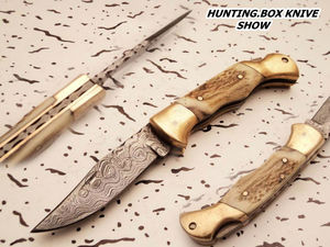 DAMASCUS FIXD DIE FOLDING KNIVES fixd5512