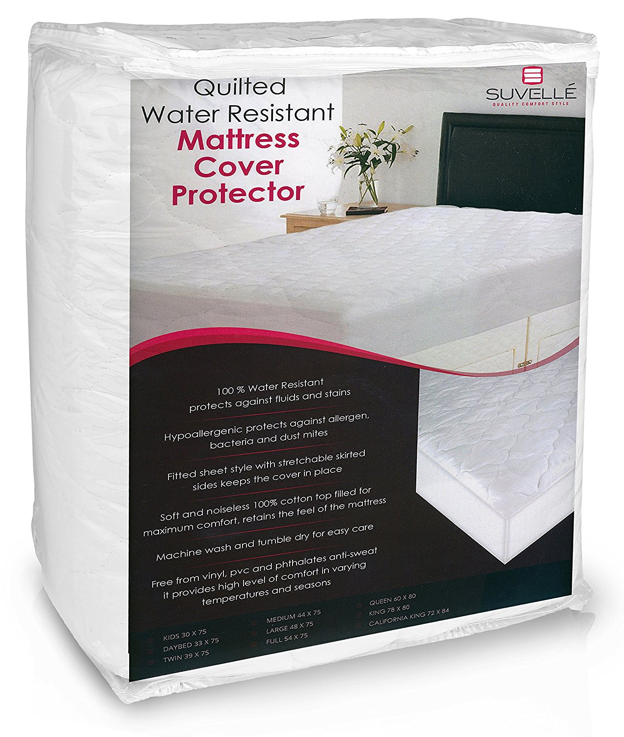 Suvelle 39 X 75 Twin Hypoallergenic Water Resistant Mattress Pad Cover Protector, Vinyl Free, Fitted Breathable Quilted Cotton