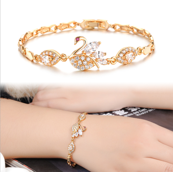 bracelet diamond product gold detail beautiful dance solid buy women swan