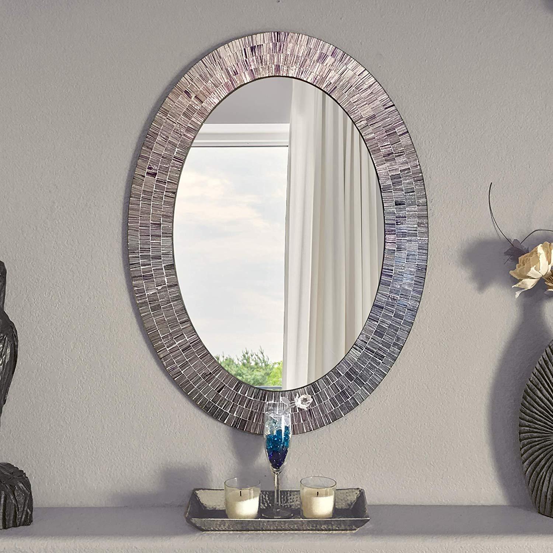 Bohemian Rhapsody Wall Mirror -Purple Rain - Glass Mosaic Decorative Wall Mirror, Silver Violet 32.5 x 24.5 in, Oval