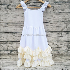 wholesale hot sale white cotton ruffle maxi dresses for girls party dress