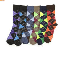 colorful argyle design fashion wholesale cheap man dress socks