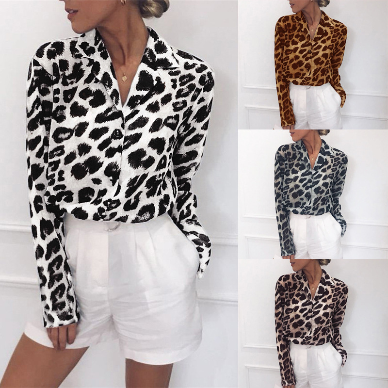 2019 Women Leopard Print Tops V Neck Chiffon Blouse