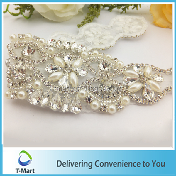 Guangzhou Pearl Beaded Rhinestone Bridal Applique Sashes