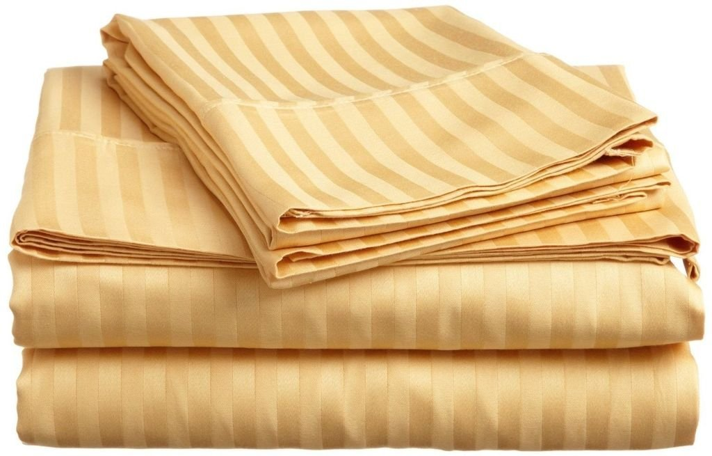 400 Thread Count Luxurious 100% Egyptian Cotton Set of 4 Short Queen 60x75 (1 Fitted sheet,1 Flat Sheet, 2 Pillows covers) for Camper/RV by Rajlinen (Gold Stripe)