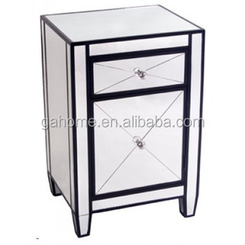 Modern Style 2 Drawer Silver Mirror Nightstand Bedside Table Side Gl Tables