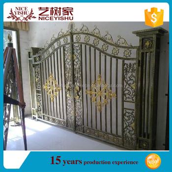 Powder Coating Iron Pipe Gate Design/round Pipe Design Iron Gate ...