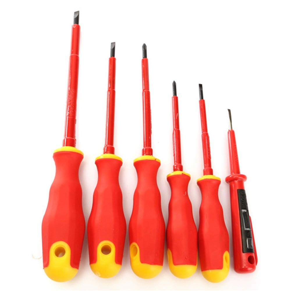 meizhouer 6PCS/bag Electricians Screwdriver Set Tool Electrical Fully Insulated High Voltage Multi Screw Head Type