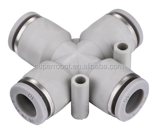 Plastic flexible joint coupling elbow four way pza union
