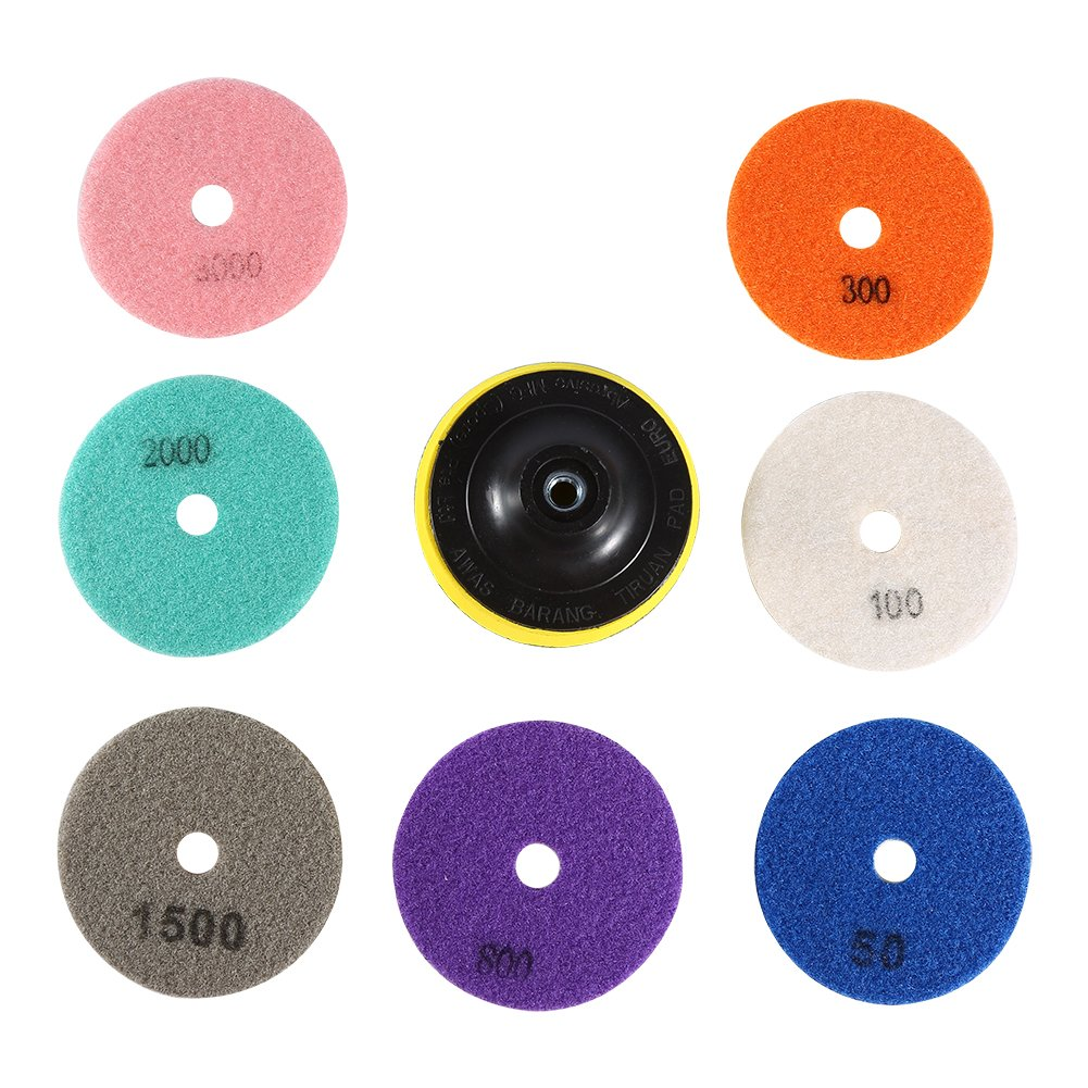 Nixikoo Diamond Wet Dry Polishing Pads Disc Set Kit for Granite Marble Concrete Stone Buffing Polishing,4 inch ,Pack of 8,Includes 7 Grinding Discs(#50/100/300/800/1500/2000/3000)and 1 Sticky Disc