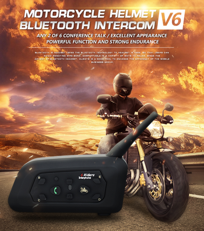 100% Waterproof 6 Rider Helmet Intercom V6 Motorcycle Bluetooth Intercom