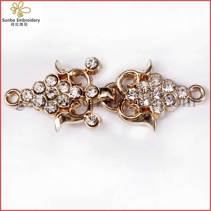 Closure Connectors Crystal Rhinestones Button Gold Tone Metal Waist Extender Hooks Eyes Clasp Garment Fastener can be customized