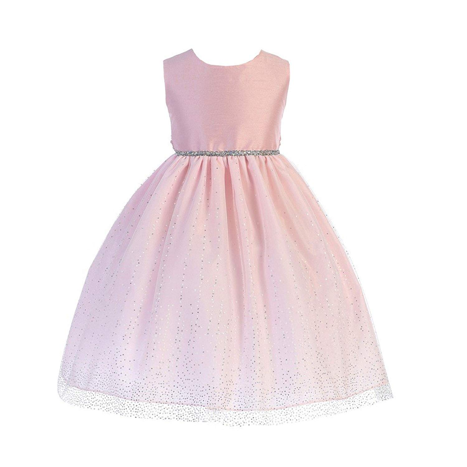f860c595affd7e Get Quotations · Crayon Kids Little Girls Pink Glitter Trim Easter Flower  Girl Dress 2T-6
