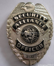 20 Years Experience Security Alliance Police Badges Metal Custom metal Badge Manufacturer