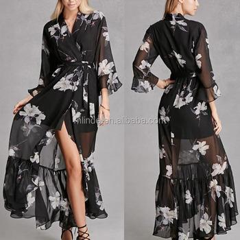Sommer Mode Kleid Semi Sheer Chiffon Floral Bedruckte Chorhemd ...