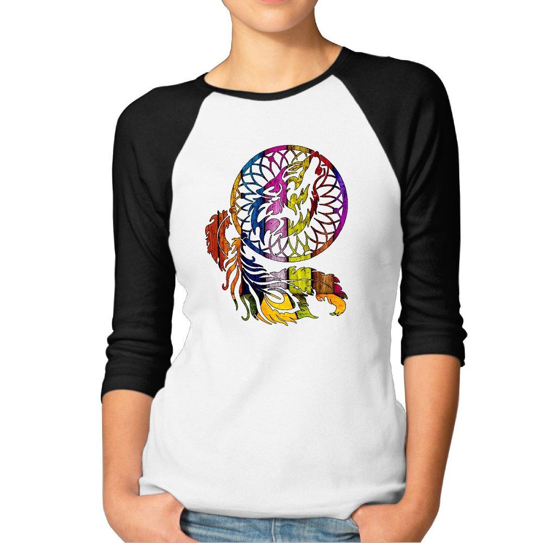 12c242a774 Get Quotations · Women 3/4 Sleeve Baseball Tee Shirts Wolf Dreamcatcher  Offensive