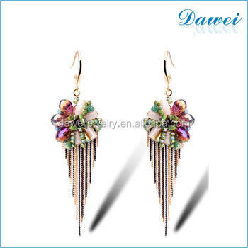 item trendy feather leaf dangles vintage color silver drop geometric plated women metal earrings peacock