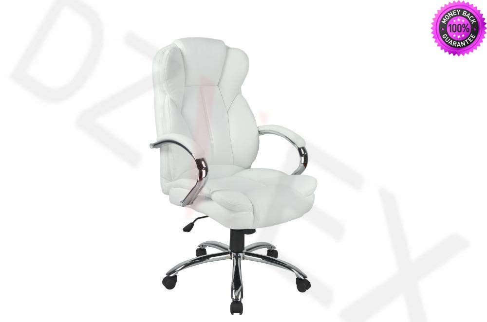 DzVeX_White High Back PU Leather Executive Office Desk Computer Chair w/Metal Base O18 And chair lifts restaurant chairs stacking chairs waiting room chairs office furniture chair mats for carpet