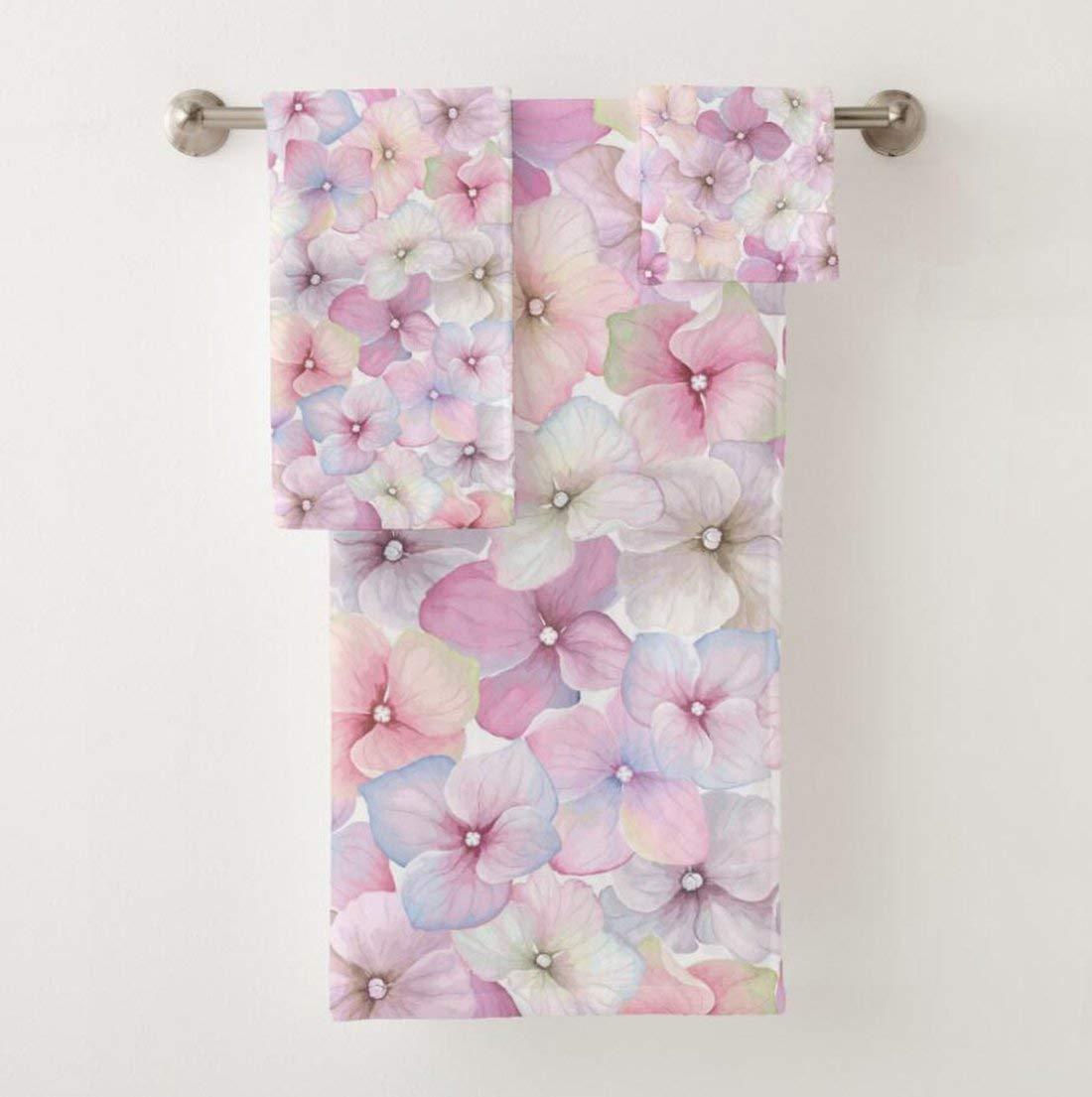 vunko pink cherry blossom 3 piece bath towel set beachpool towel for home hotel - Pink Bathroom Towels