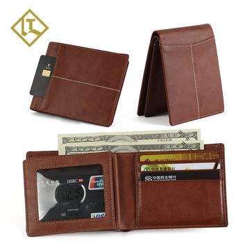 Custom OEM men's card holder cheap travel purse smart designer slim rfid blocking mens minimalist wallet genuine leather