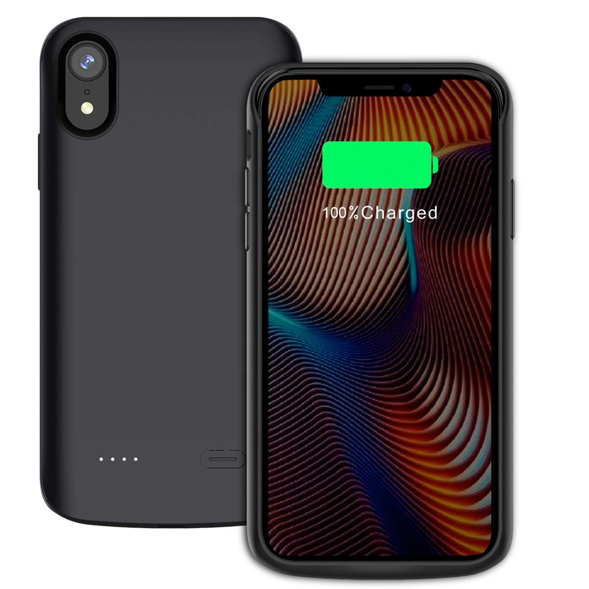 Compatible iPhone Xr Battery Case, 6000mAh Rechargeble Portable External Power Bank Battery Pack Charger Case Ultra Slim Extended Backup Charging Protective Case for iPhone Xr (2018) 6.1 inch Black 1