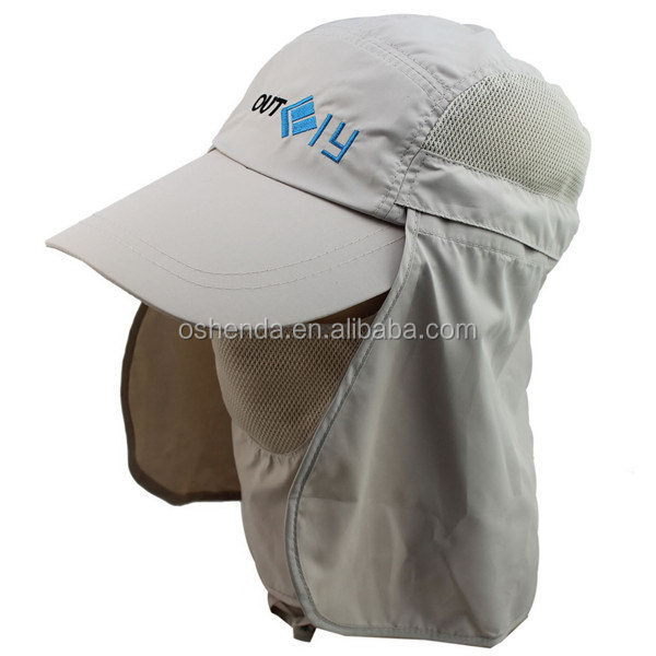 Custom Embroidery Baseball Cap with Elongated Bill and Neck Cap Ear Flap Hat