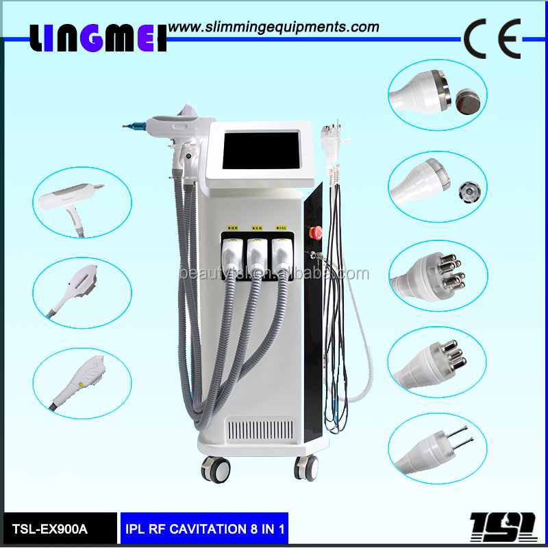 High quality professional 8 in 1 multifunctional hair removal cavitation rf vacuum rf laser tattoo removal machine