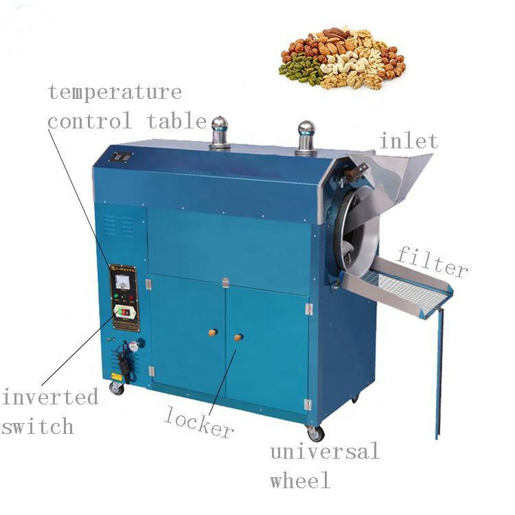 गर्म हवा मूंगफली वाणिज्यिक नमूना कॉफी बरस रही मशीन 60 kg पागल स्टार्च बरस रही मशीन जारी