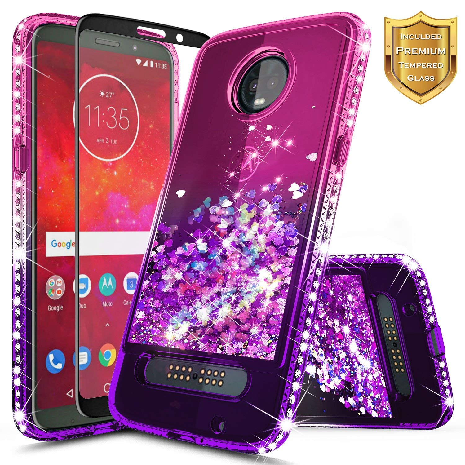 Moto Z3 Case, Moto Z3 Play Case w/[Full Cover Tempered Glass Screen Protector], NageBee Glitter Liquid Quicksand Waterfall Flowing Shiny Sparkle Bling Diamond Cute Case -Pink/Purple