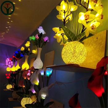 Beautiful 21 Leds 16pcs Orchid Flower Vase Lamps Led Festival Light For Indoor Variable Lamp Shape