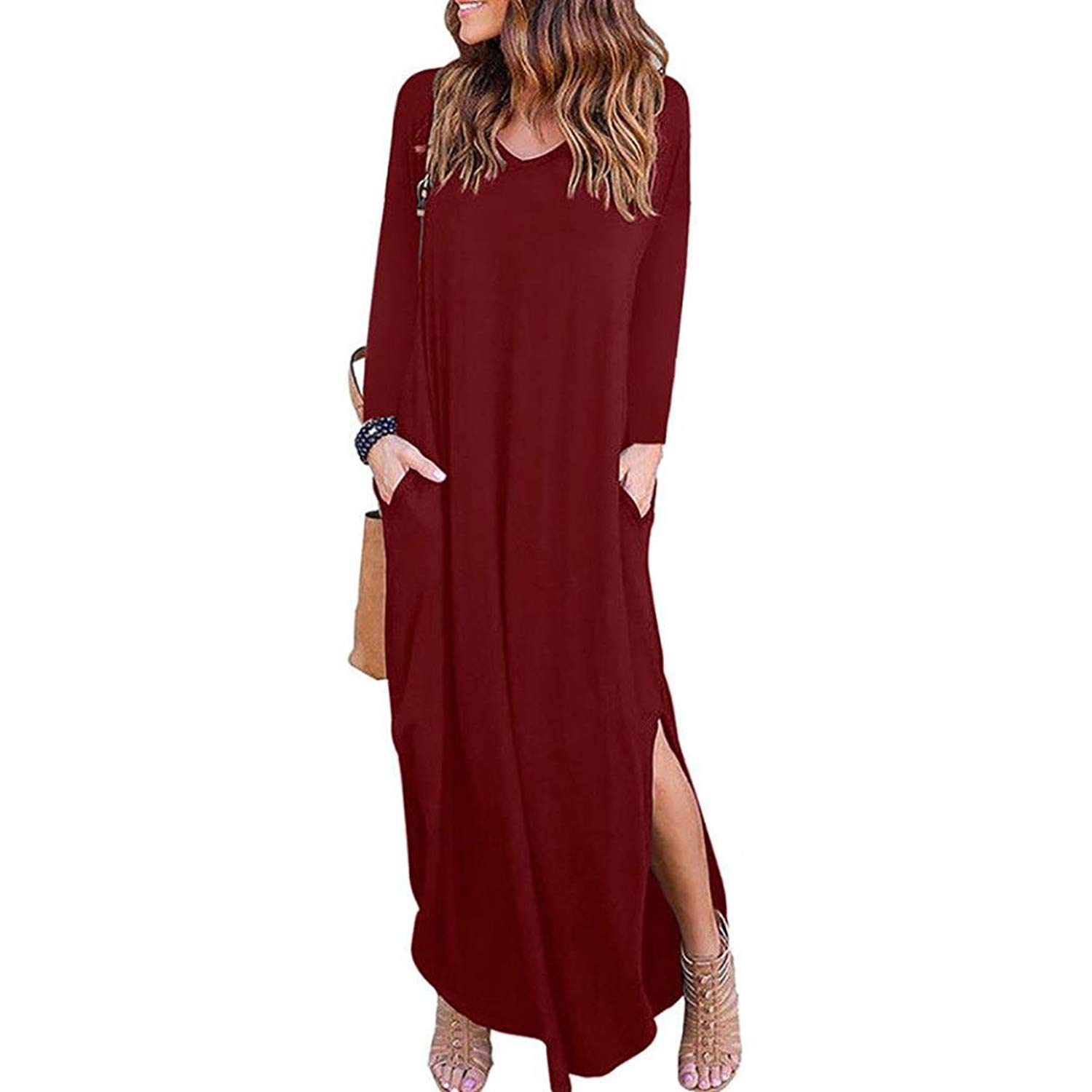 d7de4b40bd9 Get Quotations · Howstar Women s Long Sleeve Maxi Dress with Pockets Solid  Color Loose Casual Long Dresses