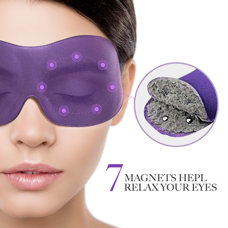 PTP Eye Cover Sleeping Mask, NEW Magnetic Therapy Eye Mask Sleep Blindfold, Great Blackout Sleep Mask and Eye relaxer - Purple