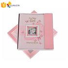 Baby Girl Gift Set with Baby Memory Book & Monthly Stickers: Modern Photo Journal and Keepsake Album for Girls First 5 Year gift