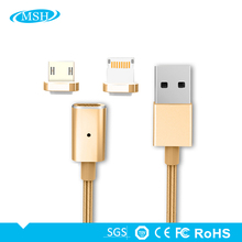 2 In 1 2018 Factory Supply Wholesale High Speed Charging With LED Indicator Magnetic USB Cable For Iphone and Android